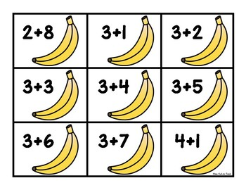 Bananas For Addition- A Math Matching Game