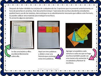 Banco de palabras para centros de escritura/ Vocabulary words