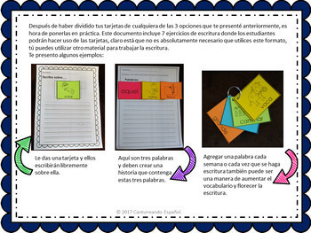 Banco de palabras para centros de escritura/ Vocabulary words