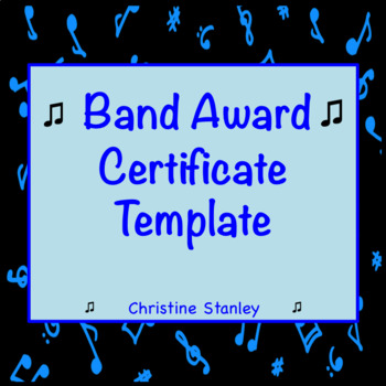 Band award certificate template by christine stanley tpt band award certificate template yadclub Image collections
