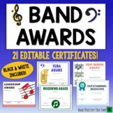 Band  Certificates for End of the Year Band Awards