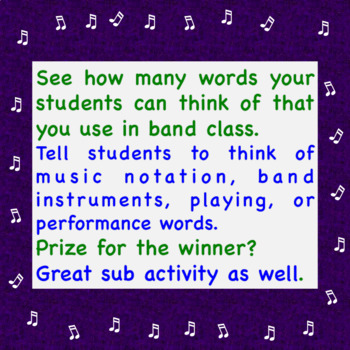 Band Worksheet ♫  Brainstorm Timed Vocabulary Scramble