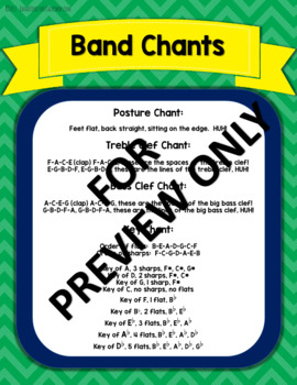 Band Chants  (Posture, Lines & Spaces, Time Signature, Key Signature)
