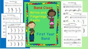 Band Class Notes and Fingerings Test - First Year