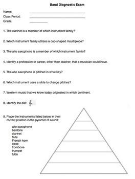Band Diagnostic Exam (Basic Music Theory)