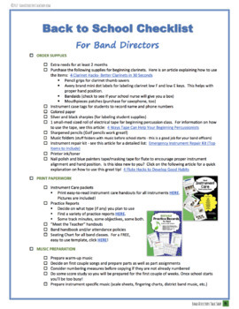 Band Director's Back-to-School Checklist FREEBIE