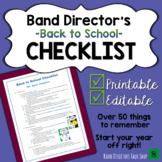 Band Director Back-to-School Checklist FREEBIE