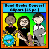 Music & Band Clipart: Kids with Instruments (35 Color & B&W)