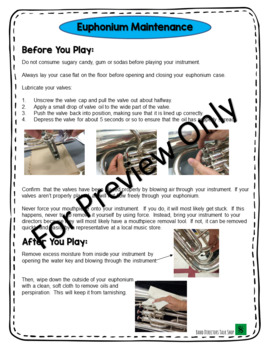 Band Instrument Care Instructions Pack