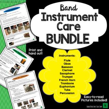 Band Instrument Care Instructions Bundle