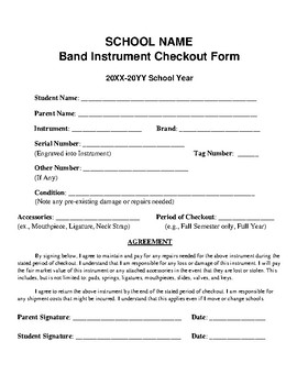Band Instrument Checkout Form