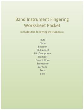 Customizable Band Instrument Fingering Worksheet Packet