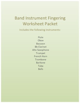 Customizable Band Instrument Fingering Worksheet Packet