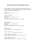 Band Instrument Release Form
