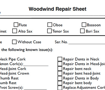 Band Instrument Repair Sheets
