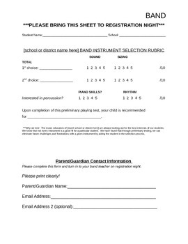 Band Instrument Selection Rubric