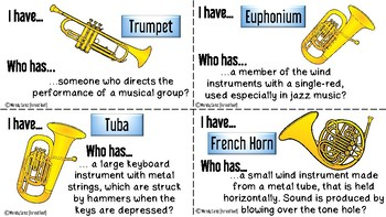 Band Instruments I Have...Who Has...