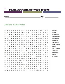 Band Instruments WORD SEARCH