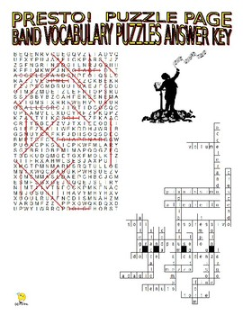Band Music Vocabulary Puzzle Pages (Wordsearch & Criss-Cross)
