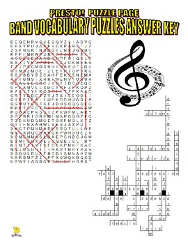 Band Musical Instruments Puzzle Page (Wordsearch and Criss-Cross)