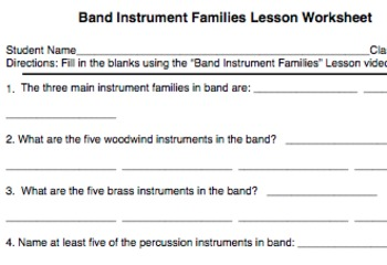 Band Musicianship Lesson 1: Band Instrument Families Worksheet