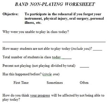 Band Non-Playing Worksheet