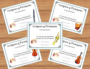 Band/Orchestra Certificates of Participation (16 Instruments) End of Year