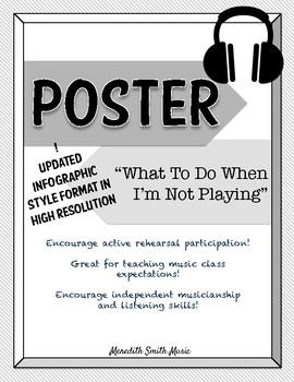 Band/Orchestra Poster: What to Do When I'm Not Playing *NEW LAYOUT* *Grayscale*