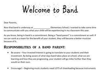 Band Parent Letter
