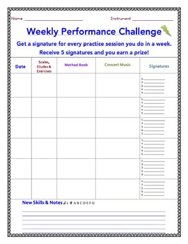 Band, Orchestra and Chorus Weekly Practice Record Chart - Editable!