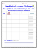 Band, Orchestra and Chorus Weekly Practice Record Chart -