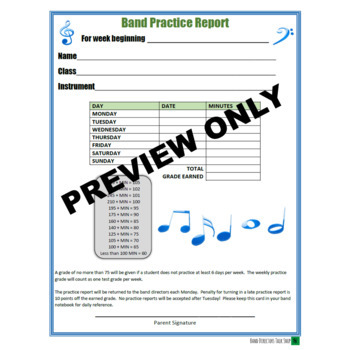 Band Practice Records (5 Options!) - Editable & Printable Versions