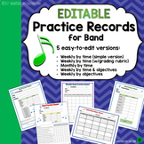 Beginning Band Practice Records (5 Options!)  Editable & Printable
