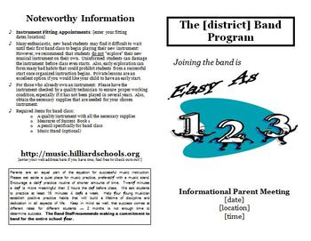 Band Recruiting Parent Meeting Brochure