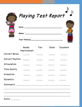 Band Teachers Playing Test Report