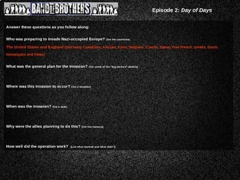 "Band of Brothers Guide & Normandy ""D-Day"" Map Activity (35-slide PPT & handouts)"