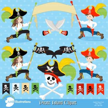 Clipart, Band of Pirates Clip art, digital images, AMB-177