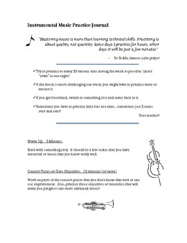 Band or Orchestra Practice Journal