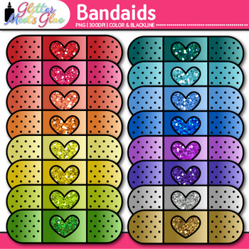 Band-Aid Clip Art {Bandages from the Nurse's Office for First Aid}