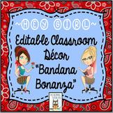 Classroom Decor Bandana Theme Editable