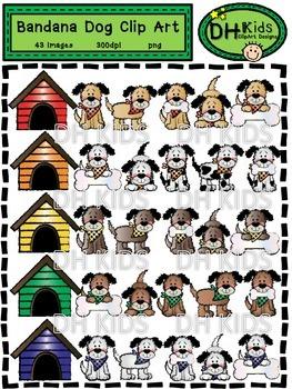 Bandana Dogs Clip Art