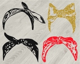Bandana mask Silhouette clipart country farm cowboy wild west glitter scarf 808s