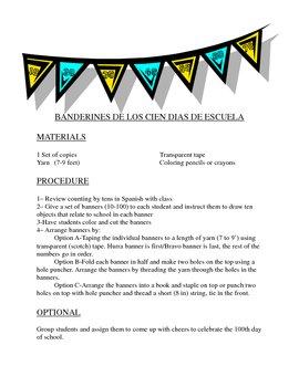 Banderin de 100 dias de clase/ Hundred days of school banner Spanish