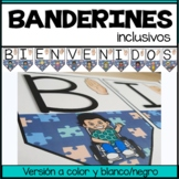 Banderines Bienvenidos | Welcome banner ASL Classroom decor Blue puzzle