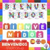 Banderines Bienvenidos- Welcome banner- Lego Decor Theme- English, Spanish, Cat