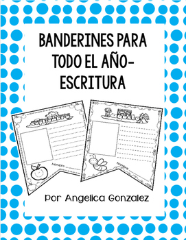 Banderines de escritura para el año (Writing pennants SPANISH)