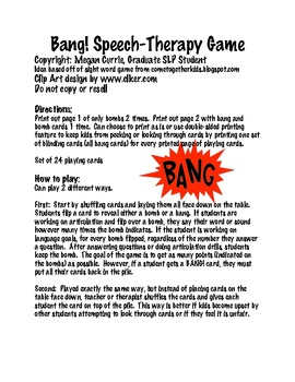 Bang! Open-Ended Speech Therapy Game
