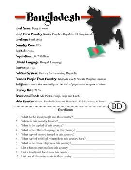 Bangladesh Information & Worksheet