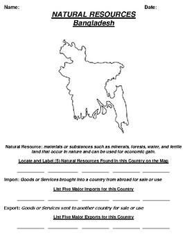 Bangladesh Natural Resource Worksheet and Word search