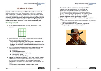 Banjo Paterson Poetry Worksheets